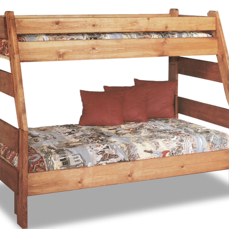 Knotty Pine Twin over Double Bunk Bed., Photo of assembled bunk bed is stock. Double portion is actual bed. Note: Twin was dismantled before photo could be taken.<br /> <br /> Good Condition. Solid Bed! Great for vacation home and kids!!