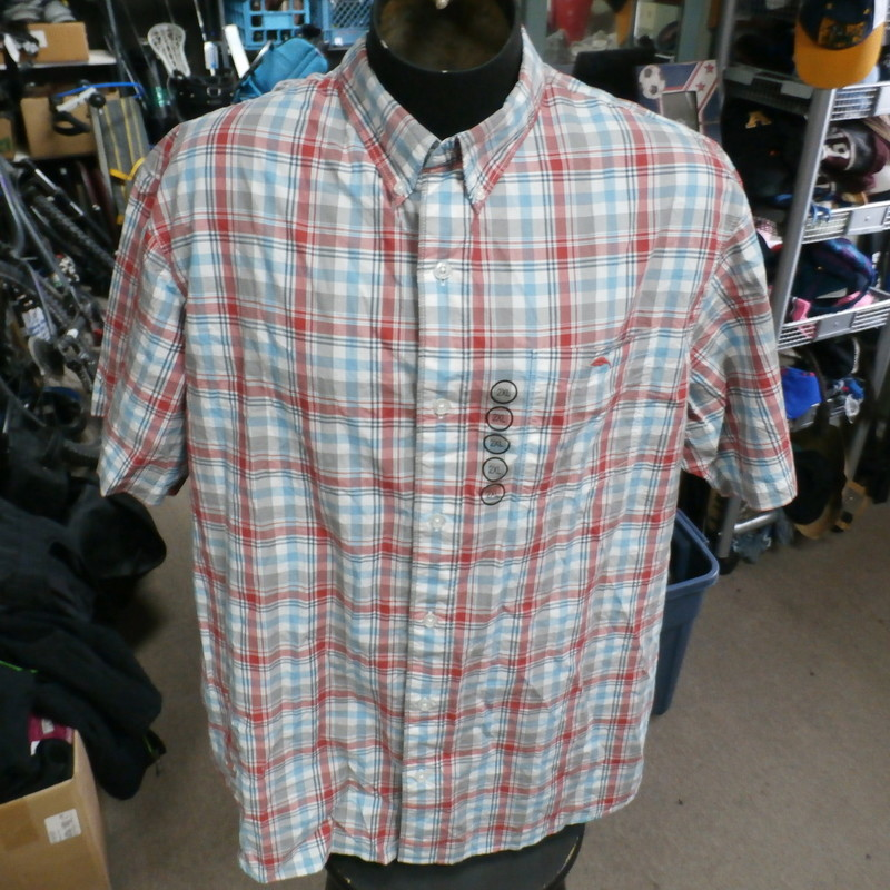 "Bob Timberlake plaid button-up shirt red and blue size 2XL cotton #27785<br /> Rating: (see below) 1- Excellent Condition<br /> Team: n/a<br /> Player: n/a<br /> Brand: Bob Timberlake<br /> Size: Men's XXLarge- (Measured Flat: Across chest 26""; Length 30"")<br /> Measured Flat: underarm to underarm; top of shoulder to bottom hem<br /> Color: red and blue<br /> Style: short sleeve; embroidered<br /> Material: 100% cotton<br /> Condition: 1- Excellent Condition: like new; still has original sticker (see photos)<br /> Item #: 27785<br /> Shipping: FREE"