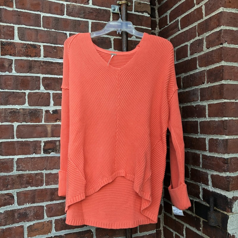 Free People, Orange.  Hi low hem, cuffed sleeves Size: Xs