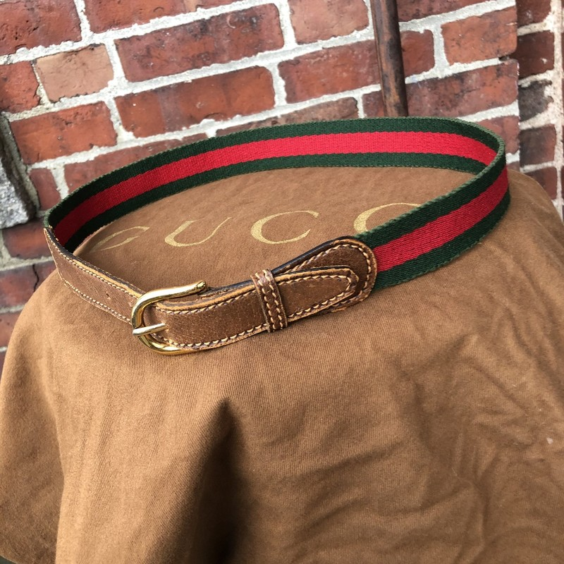 Vintage Gucci Stripe Belt, Red, Size: XSmall