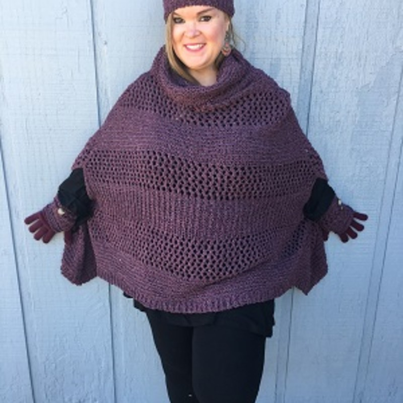 "Tonya looks amazing in this Simply Noelle Poncho. It is the perfect item to get your fall wardrobe started. It will go perfect over your favorite outfit. Soft, Heathered, Open Weave, Chenille, Cowl Neck, Side Slits for Arms, Ribbing Along Hemline. 27""L x 55""W. 100% Polyester"
