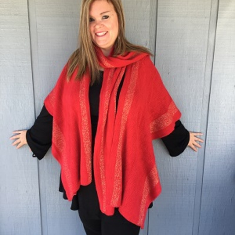 "Tonya looks amazing in this Simply Noelle Holiday Wrap. It is the perfect item to get your fall wardrobe started. It will go perfect over your favorite outfit. Cozy Knit with Metallic Lurex Stripes, Attached Scarf, Wear Scarf Open or Multiple Ways. 26""L x 36""W.<br /> 96% Acrylic, 4% Other Fibers"