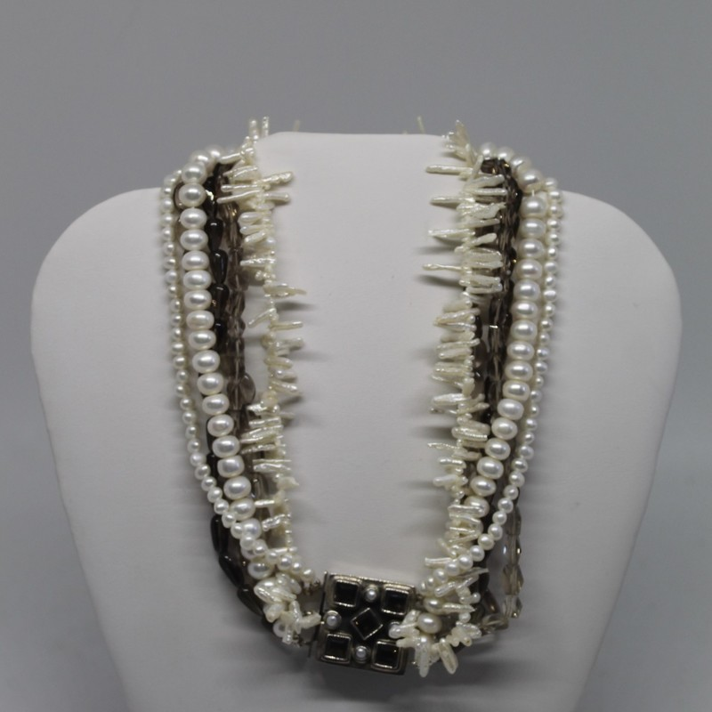 Amy Kahn Smokey Quartz, Pearl, Size: 925