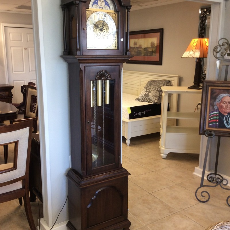 "This beauty is 40 years old, which makes it VINTAGE in my book. It features gorgeous dark walnut construction with lots of pretty carved details. It offers 3 different ""chime"" options, or you can silence it altogether. $695!"