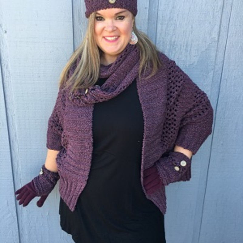 "Tonya looks amazing in our Simply Noelle Scarf. This goes perfect with our Simply Noelle Warp and Hat (sold separately).  Soft, Heathered, Open Weave, Chenille, Buttons, Wear as Straight Scarf or Button for Infinity. 60""L x 7.5""W.<br /> 100% Polyester"