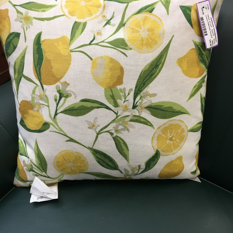 Lemon Patterned Throw Pil, Grn/Yel, Size: 18x18