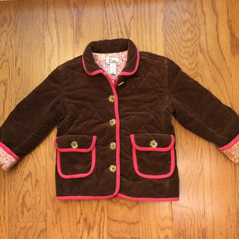 Lilly Pulitzer Cord Coat, Brown, Size: 3<br /> <br /> <br /> ALL ONLINE SALES ARE FINAL. NO RETURNS OR EXCHANGES.