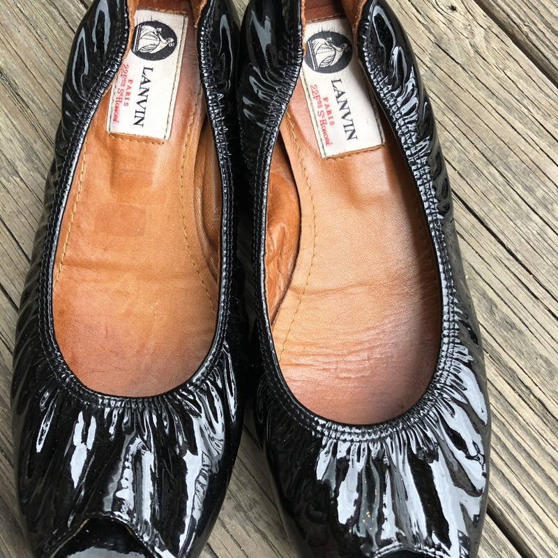 Lanvin Open Toe Flats, Black, Size: 7<br /> Black Patent Open Toe Flats, bottoms have been resoled.