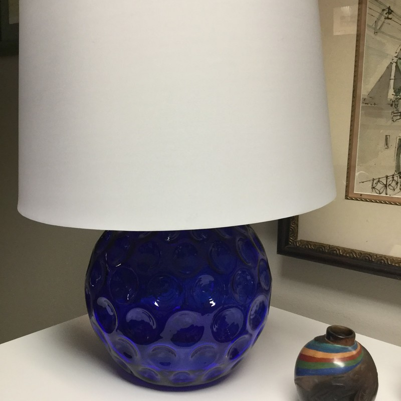 "Glass Dimple Lamp, Blue, Size: 21""X14"""