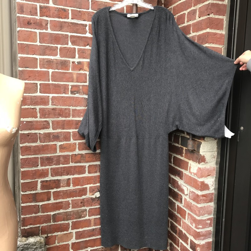 Newport News, Slim profile with dramatic dolman bell sleeves. Charcoal , Size: L