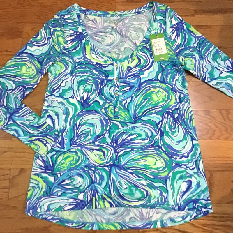 Lilly Pulitzer Shirt, Blue, Size: Small<br /> <br /> WOMENS SIZE<br /> <br /> BRAND NEW WITH $68 TAG<br /> <br /> ALL ONLINE SALES ARE FINAL. NO RETURNS OR EXCHANGES.