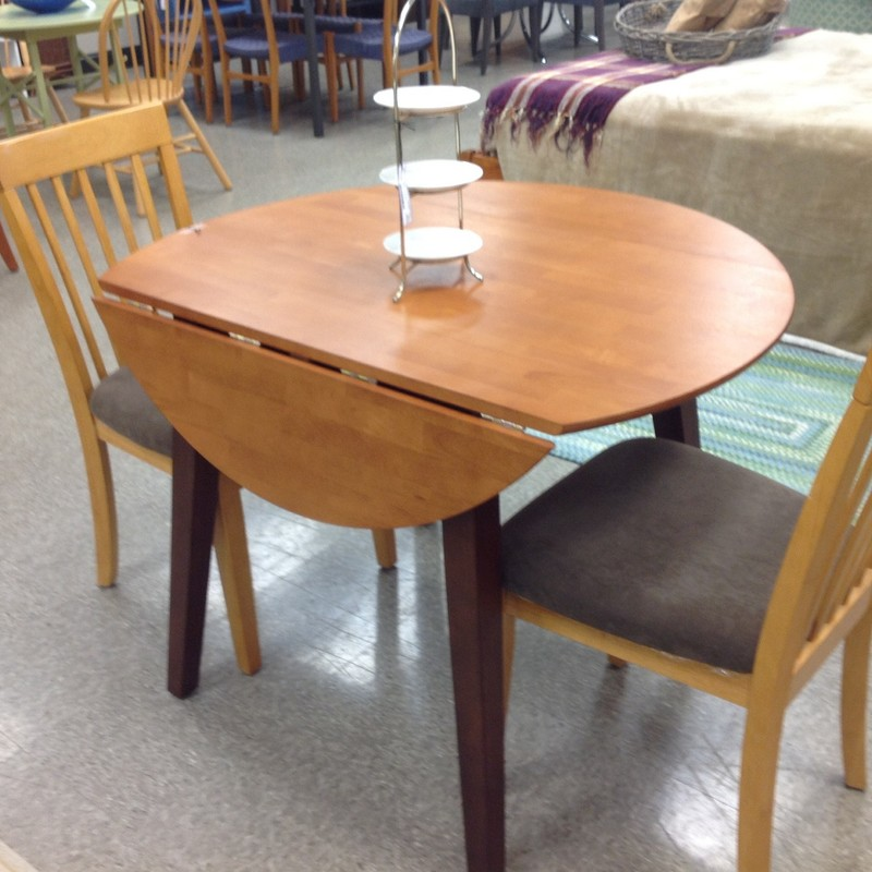 Dropleaf Table W/2 Chairs, Brown, Size: 42 Inch