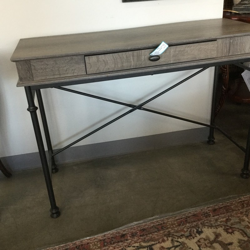 Grey Wood Console/desk, 43.17.30, Size: 1drawer