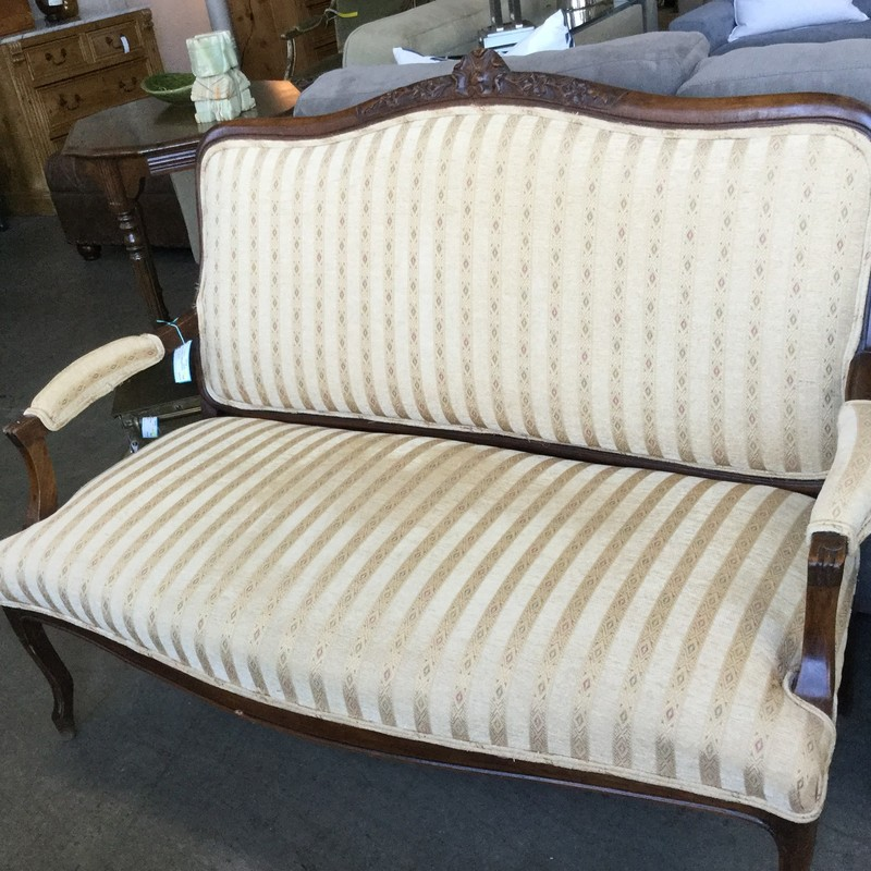 "Vintage Settee, Gold Fabric, Size: 56"" X 26"""