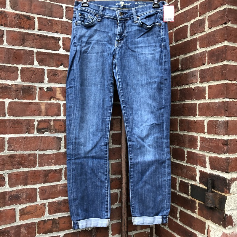 7 For All Mankind Skinny, Blue, Size: 26