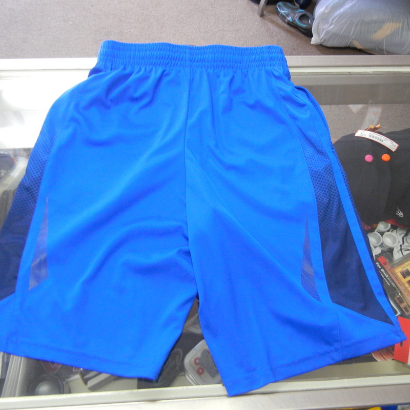 "Tek Gear YOUTH shorts blue size Medium 10-12 polyester #378<br /> Rating:   (see below) 3 - Good Condition <br /> Team: n/a<br /> Event: n/a   <br /> Brand: Tek Gear<br /> Size: Medium 10-12 - YOUTH(Measured Flat: Across waist 12""; length 20"" inseam 10"") <br /> Measured across waist laying flat; from the top of the waist to bottom of leg opening and from crotch to bottom of leg opening<br /> Color: Blue<br /> Style: athletic shorts; drawstring and elastic waist; pockets<br /> Material: 100 polyester <br /> Condition: - Good Condition - wrinkled; minor pilling and fuzz; minor fading; some stains on the front R side  (Please use photos to see the condition details)  <br /> Shipping cost: $3.37<br /> Item #: 378"