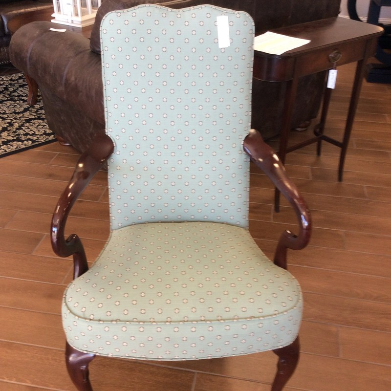 This little beauty is over 30 years old, but still in amazing condition. It is solid mahogany and has a Queen Anne style. The pretty seafoam green upholstery has tiny taupe and white medallions on it.