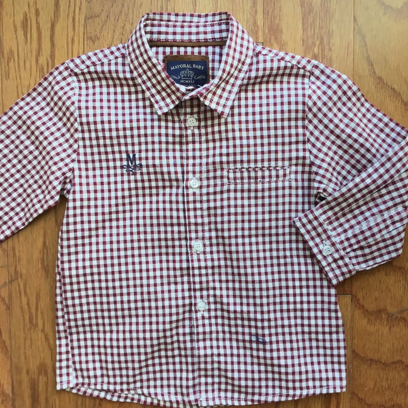 Mayoral Shirt, Burgundy, Size: 12m<br /> <br /> <br /> ALL ONLINE SALES ARE FINAL. NO RETURNS OR EXCHANGES.