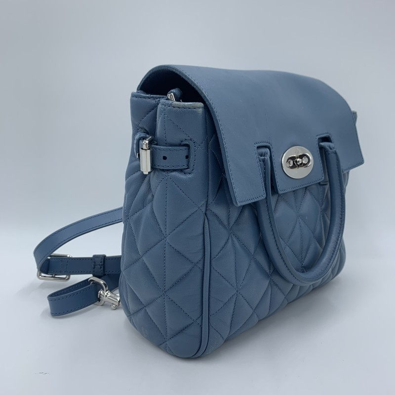 "Mulberry Convertible Bkpk, Blue, Size: S<br /> <br /> condition: VERY GOOD. Light scratching on flap. Inside is pristine.<br /> <br /> Can be worn as either a backpack or crossbody.<br /> Estimated retail: $2700<br /> <br /> Shoulder Strap Drop: 15.5""<br /> Handle Drop: 2.5""<br /> Height: 11""<br /> Width: 11.75""<br /> Depth: 4.75"""