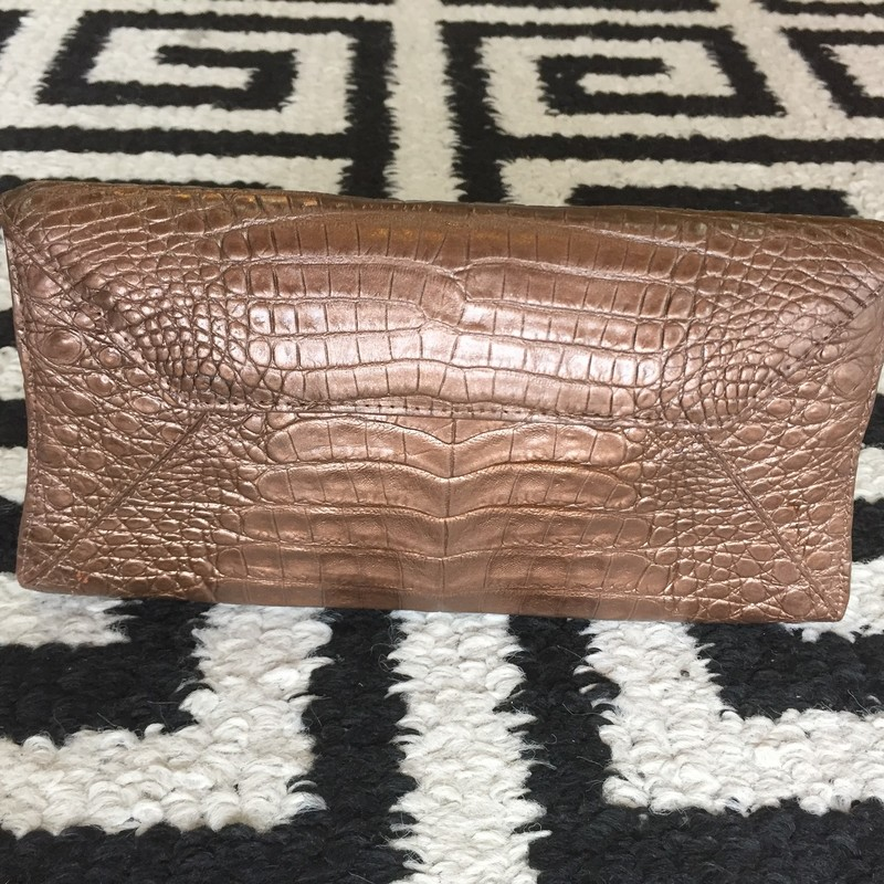 Nancy Gonzalez clutch made of genuine crocodile (brown). Clean with no scuffs, tears, markings or stains. Interior is made of suede and has one pocket. BRAND NEW! Retail: $1700 Perfect for any special event!<br /> style #C2056-01