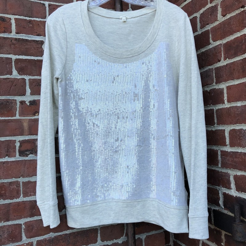 J Crew Sequin Sweatshirt, Gray, Size: Medium