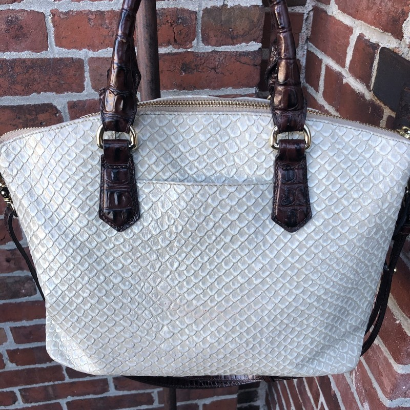 Brahmin Convertible Bag, As Is, Size: Medium<br /> this cream color embossed leather Brahmin bag is in very good condition on the exterior. There is ink staining in some places on the interior. Can be worn as a tote, a shoulder bag or a crossbody bag.