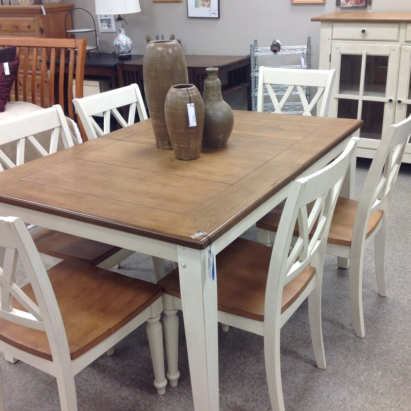 Liberty Dining Table 6 Ch, Off Whte, Size: 40x55 +