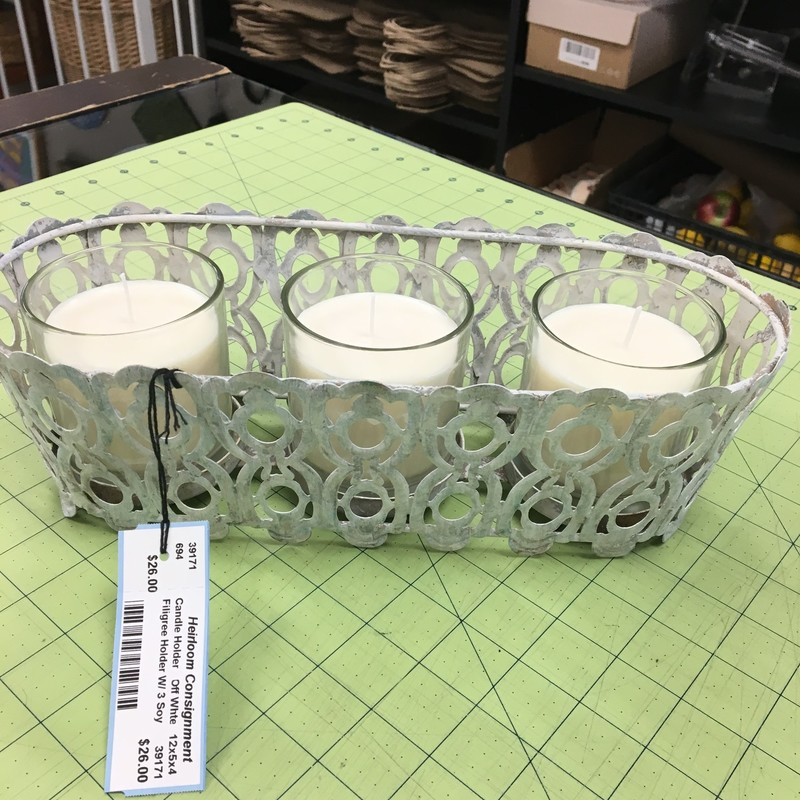 Filigree Holder W/ 3 Soy, Off Whte, Size: 12x5x4