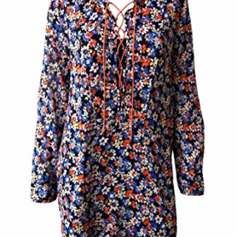 "Rag & Bone Isla Dress - Navy/ Floral size S, orig. rtl: $395<br /> <br /> ""A relaxed fit dress in an all-over floral print featuring long sleeves and lace up neckline.<br /> <br /> <br /> <br /> - 100% Cotton<br /> <br /> - Designer Style #W2923153D<br /> <br /> Fit Tip<br /> Fits true to size.<br /> Fabric / Material<br /> - 100% cotton""<br /> <br /> Photo and description credits: garmentory.com"