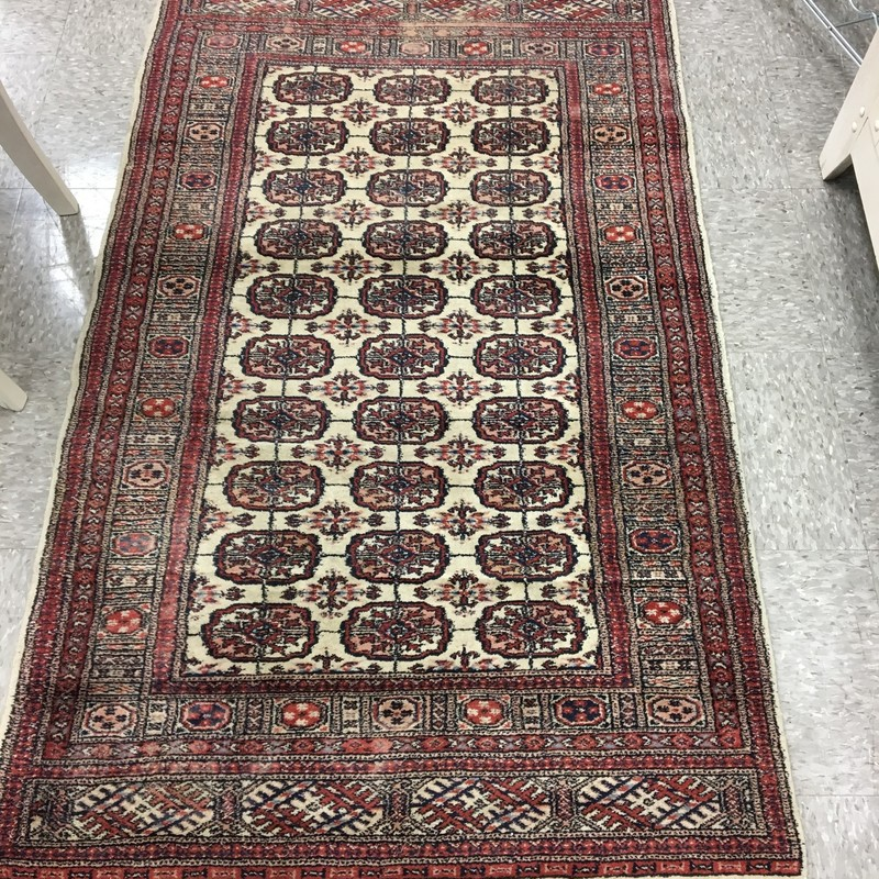 Vintage Bokhara Rug, Red, Size: 3x5