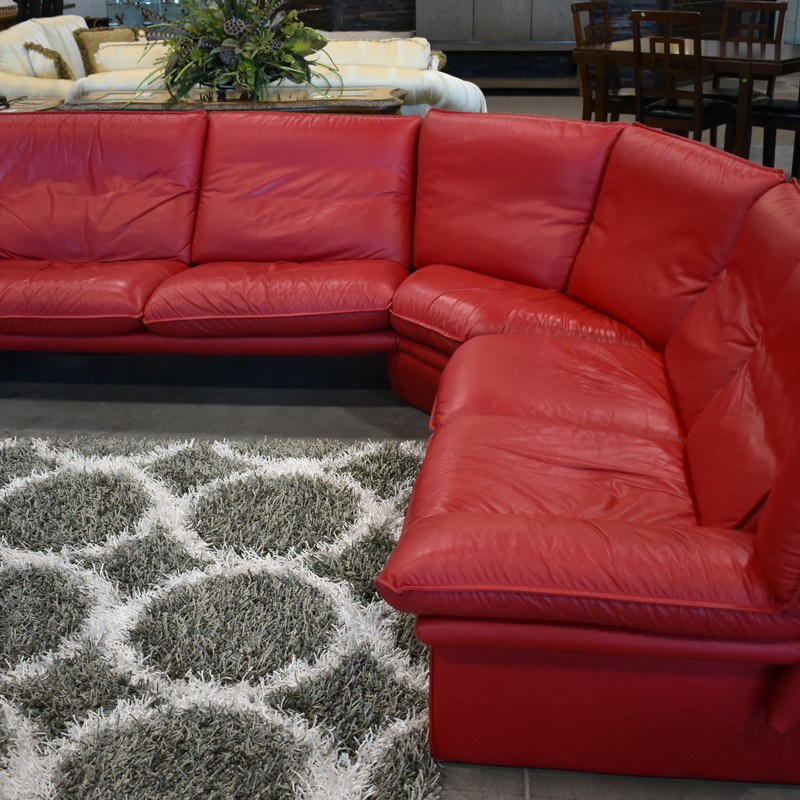 3pc Red Leather Sectional