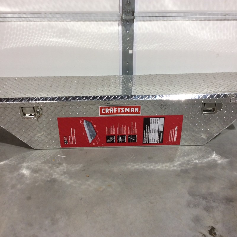 "CRAFTSMAN 61.5"" x 12"" x 12"" Brite Aluminum Aluminum Mid Size Truck Tool Box. Has Dent In Lid That Does Not Affect Functionality<br /> <br /> *WITH KEYS*"