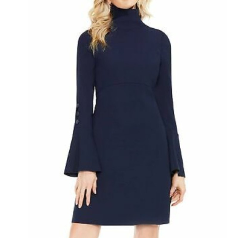 Vince Camuto navy Blue Button-detail Bell-sleeve Dress size 4 orig. rtl: $129