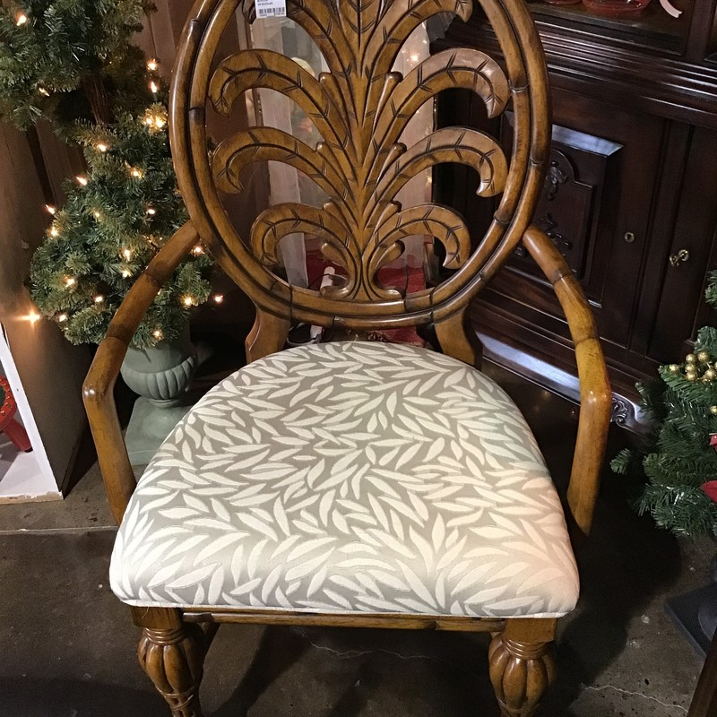 "This beautifully carved chair has a very neutral seat and rounded back. It would be perfect in a bedroom or living room!<br /> Dimensions are 25-1/2"" x 23"" x 43"""