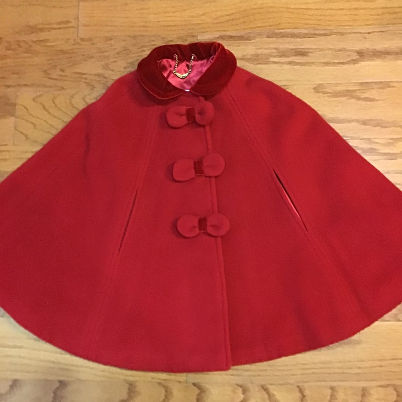 Sarah Louise Cape, Red, Size: 2<br /> <br /> <br /> STUNNING. RETAILED FOR AROUND $200. WOOL AND CASHMERE BEND.<br /> <br /> <br /> ALL ONLINE SALES ARE FINAL. NO RETURNS OR EXCHANGES.