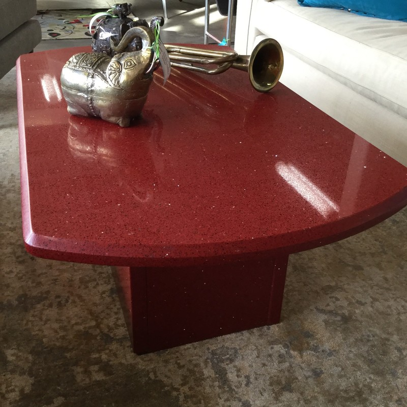 "Stellar Ruby Quartz CoffeeTable, Red, Size: 40""X24""X16"""