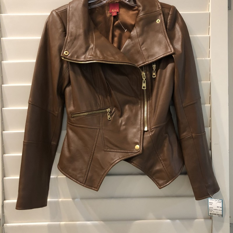 G.I.L.I. Leather Jacket, Brown, Size: 2