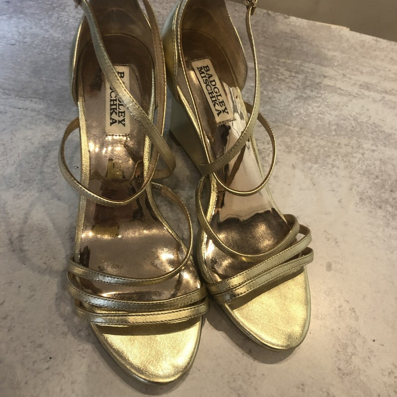 Badgley Mishka Wedges, Gold, Size: 7<br /> Very good condition
