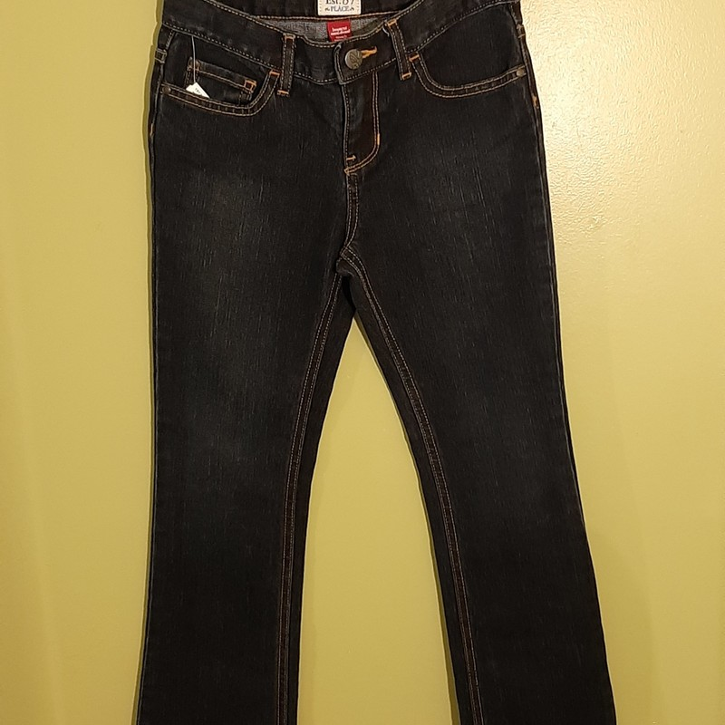 Childrens Place bootcut stretch jean with adjustable waist. Dark wash. Like new.