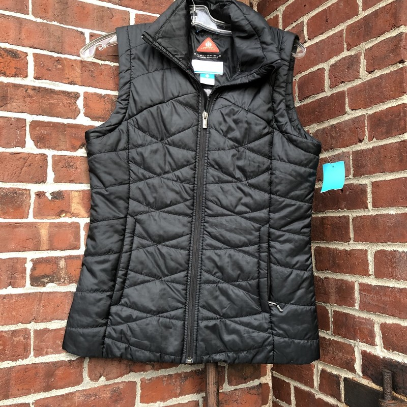 Columbia, Black down vest with mylar omni shield lining Size: S