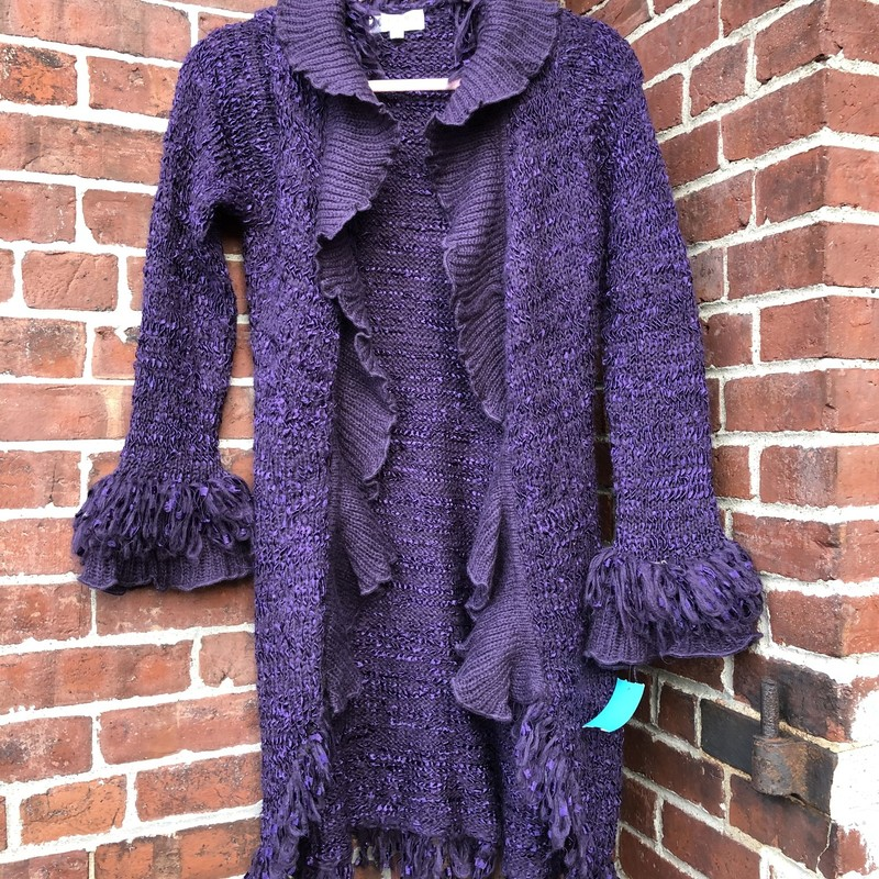 Papillon, deep purple color with ruffles and eyelash knit to add much charm to this knee-length sweater, Size: M