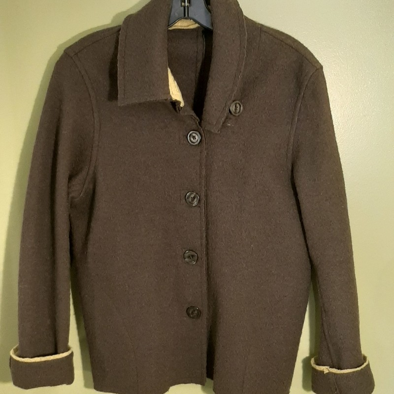 Cut Loose Jacket in 100% wool. Dark gray with lime green trim. BEAUTIFUL!!!!