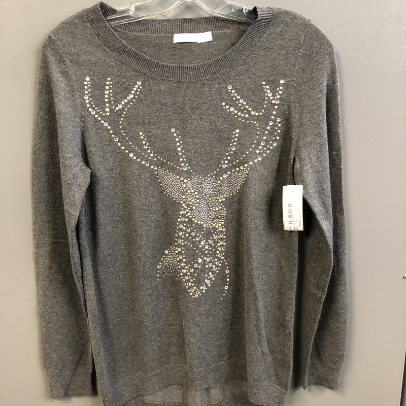 Ls Beaded Sweater W Deer, Grey, Size: Xsmall