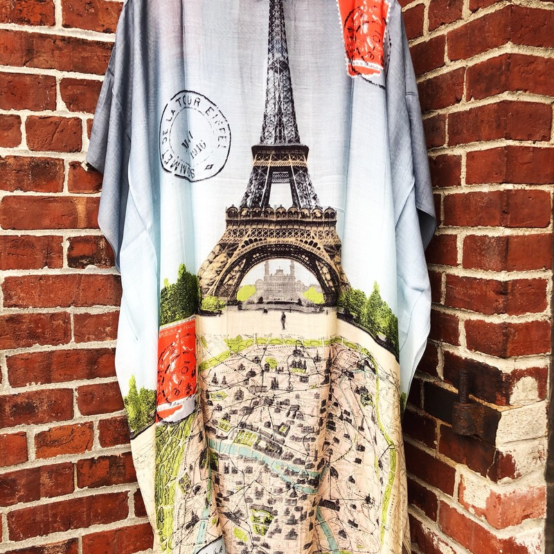 Eiffel Tower Kimono NWT, Blue, Size: One Size<br /> Brand new from English Company One Hundred Stars!