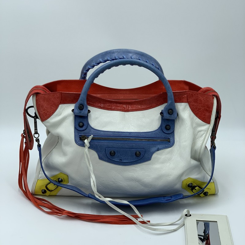"Balenciaga Mondrian City, White, Size: M<br /> <br /> condition: VERY GOOD. Some wear on bottom edges<br /> <br /> 15""W x 9.5""H x 5.5""D (at widest)<br /> 5"" handle drop<br /> 11"" strap drop<br /> <br /> We guarantee the authenticity of every bag on our site. Each bag comes with either an original sales receipt or a Certificate of Authenticity from AuthenticateFirst.com. Established in 2013, AuthenticateFirst.com<br /> (http://authenticatefirst.com) is one of the premier authentication services in the US, providing authentications of designer handbags, wallets, small leather goods, footwear, jewelry, and accessories. They employee in-house experts who have decades of experience working with hundreds of luxury brands."