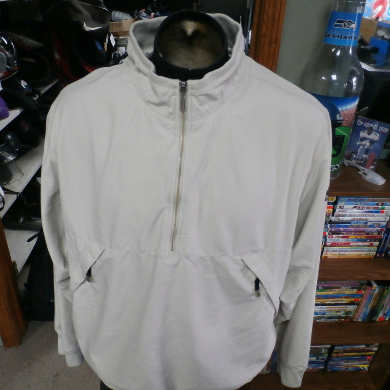 "Adidas ClimaShell Wind jacket cream size XL 100% polyester #9960<br /> Rating: (see below) 3- Good Condition<br /> Team: n/a<br /> Player: n/a<br /> Brand: Adidas<br /> Size: Men's XLarge- (Measured Flat: Across chest 28""; Length 28"")<br /> Measured Flat: underarm to underarm; top of shoulder to bottom hem<br /> Color: cream<br /> Style: long sleeve; embroidered<br /> Material: 100% polyester<br /> Condition: 3- Good Condition: minor wear and discoloration from use and washing (see photos)<br /> Item #: 9960<br /> Shipping: FREE"