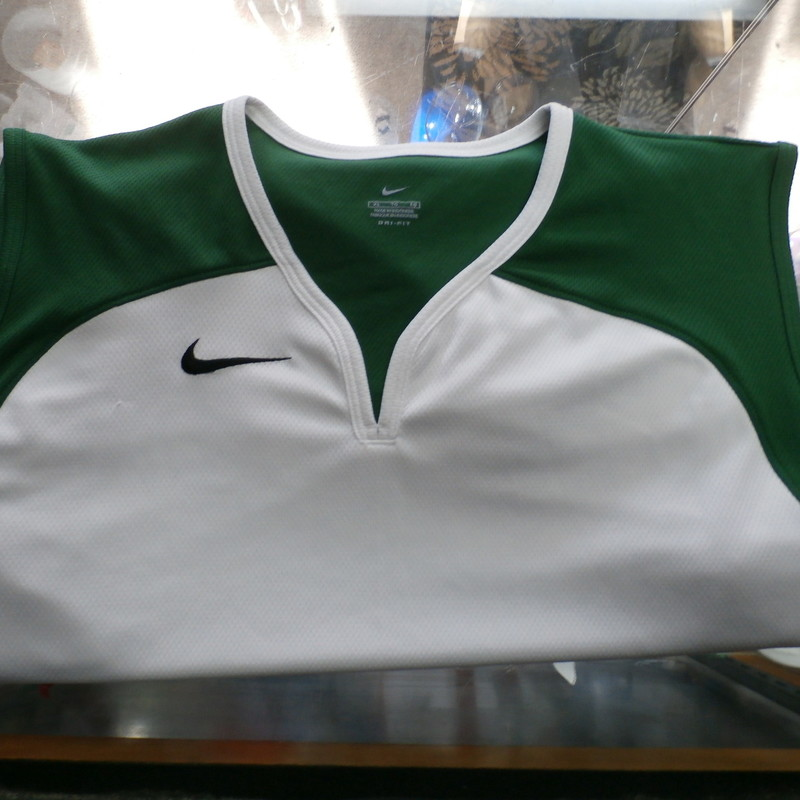 "Nike Men's Sleeveless Shirt Size XL white polyester #10085<br /> Rating: (see below) 3- Good Condition<br /> Team: N/A<br /> Player: N/A<br /> Brand: Nike<br /> Size: Men's XL - (Measured Flat: Across chest 22""; Length 27"")<br /> Measured Flat: underarm to underarm; top of shoulder to bottom hem<br /> Color: white & green<br /> Style: sleeveless/ embroidered; Shirt;<br /> Material: 100%polyester<br /> Condition: 3- Good Condition: wrinkled; minor pilling and fuzz;<br /> Item #: 10085<br /> Shipping: $FREE"