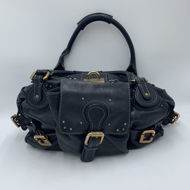 "Chloe Paddington, Black, Size: L<br /> <br /> condition:FAIR. some wear + tarnishing of hardware, wear to edges of leather, zipper may need repair<br /> <br /> 14""W x 9""H x 6""D<br /> 10"" handle drop<br /> <br /> We guarantee the authenticity of every bag on our site. Each bag comes with either an original sales receipt or a Certificate of Authenticity from AuthenticateFirst.com. Established in 2013, AuthenticateFirst.com<br /> (http://authenticatefirst.com) is one of the premier authentication services in the US, providing authentications of designer handbags, wallets, small leather goods, footwear, jewelry, and accessories. They employee in-house experts who have decades of experience working with hundreds of luxury brands."