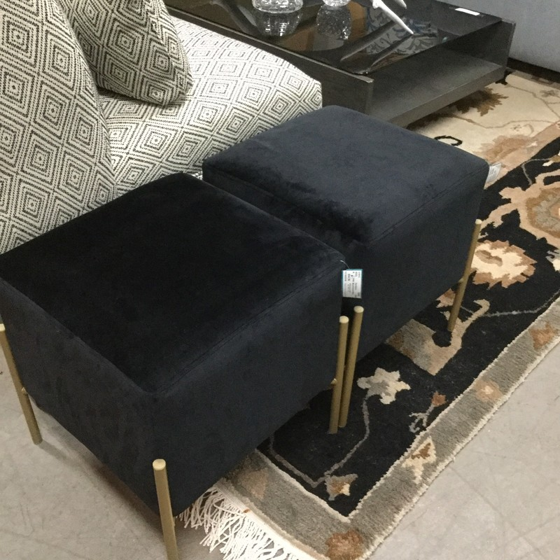 "Black Velvet Stool, Gold Legs, 2 Available, Size: 15""X15""X17"""