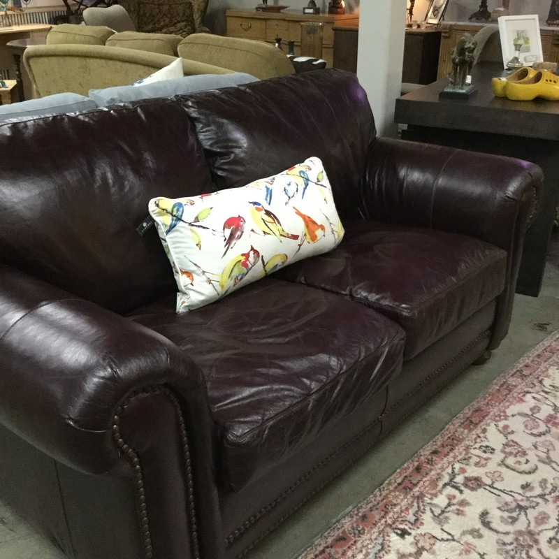 Leather Loveseat, Down Wrap, Nail Head, Cabernet
